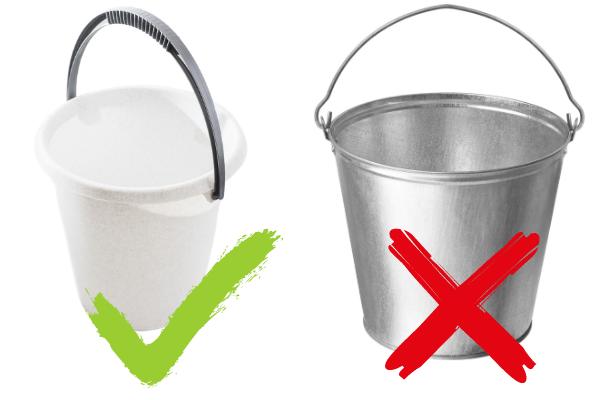 plastic and metal bucket